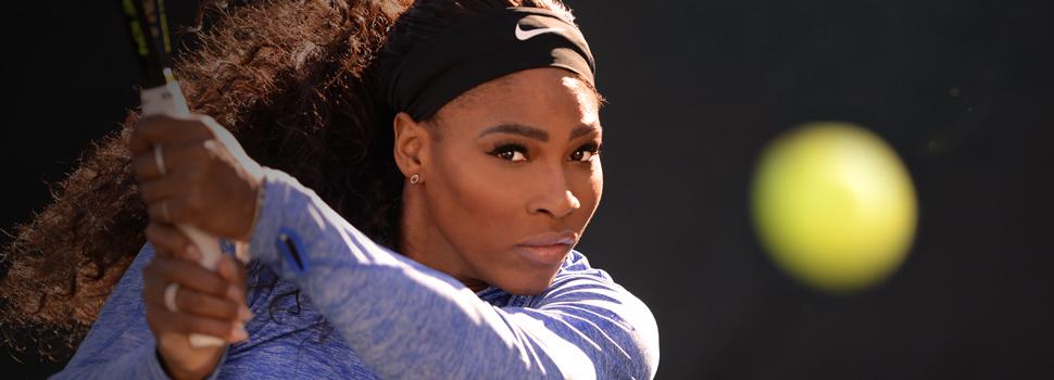 Serena Williams prepares to teach her MasterClass on the tennis court